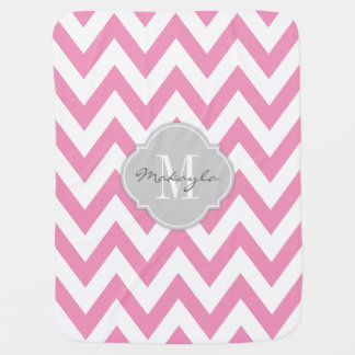 Bubblegum Pink and White Chevron with Monogram Baby Blankets