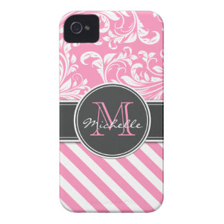 Bubblegum Pink and White Damask with stripes iPhone 4 Case-Mate Case