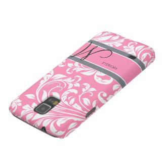 Bubblegum Pink and white floral damask w/ monogram Cases For Galaxy S5