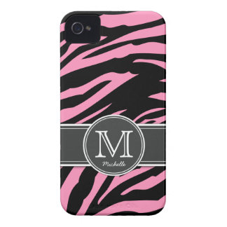 Bubblegum Pink & Black Zebra stripes Case-Mate iPhone 4 Cases