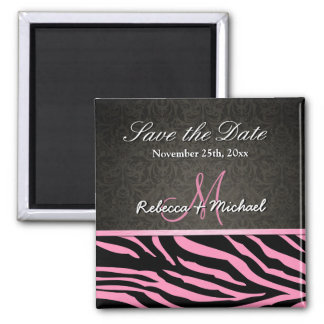Bubblegum Pink & Black Zebra Stripes Save the Date Magnet