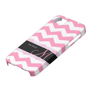 Bubblegum Pink Chevron with Personalized Monogram iPhone 5 Cover