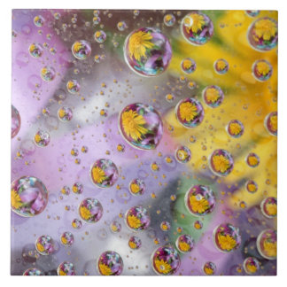 Bubbles abstract with flowers. Credit as: Nancy Large Square Tile