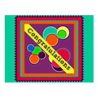 Bubbles and Zig Zag Congratulations Postcard