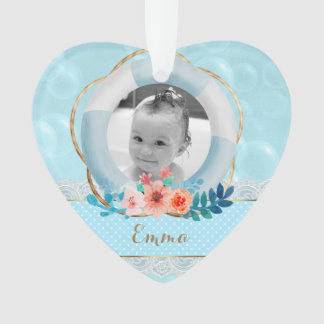 Bubbles Baby Boy Nautical Dot Lace Floral Heart Ornament