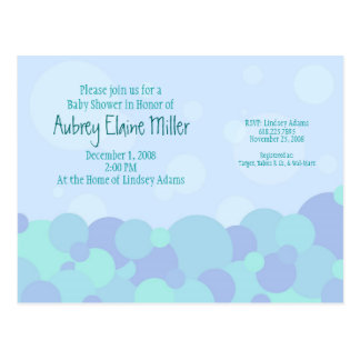 Bubbles Baby Shower Invitation Post Card