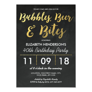 Bubbles, Beer & Bites Adult Birthday Party 13 Cm X 18 Cm Invitation Card