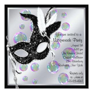 Bubbles Black and White Masquerade Party 13 Cm X 13 Cm Square Invitation Card
