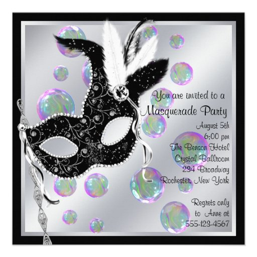 Bubbles Black and White Masquerade Party Personalized Announcements