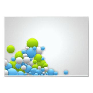 BUBBLES blue green white light grey gray digital 13 Cm X 18 Cm Invitation Card