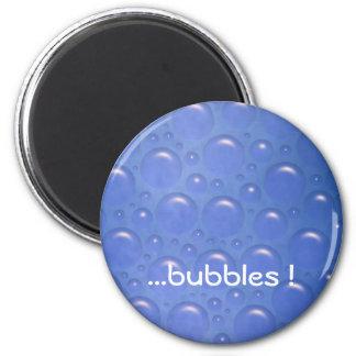 bubbles blue magnet round