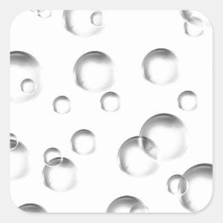 Bubbles in Black and White Square Sticker