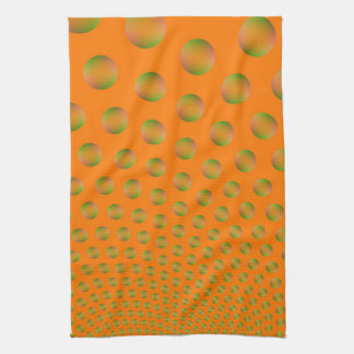 Bubbles in Orange and Green Kitchen Towel