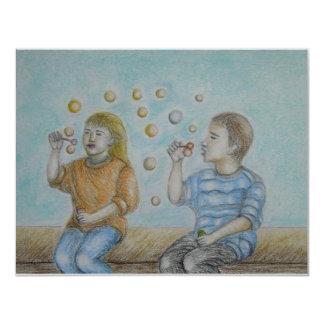 bubbles 11 cm x 14 cm invitation card