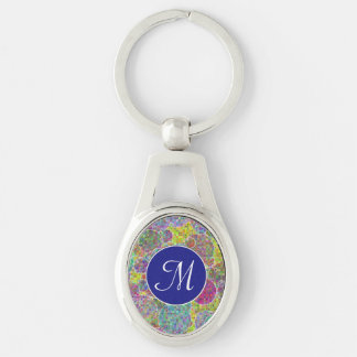 Bubbles mosaic Silver-Colored oval key ring