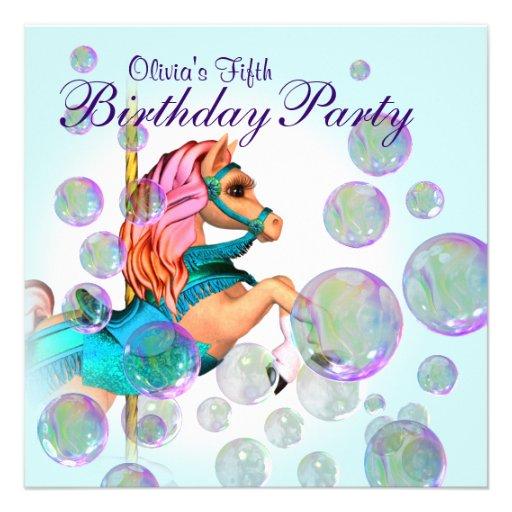 Bubbles Pink Carousel Pony Girls Birthday Party Invitation