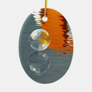 Bubbles Reflecting in Water Ceramic Oval Decoration