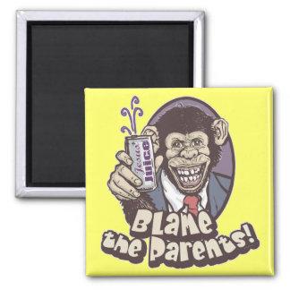 Bubbles says Blame the Parents by Mudge Studios Square Magnet