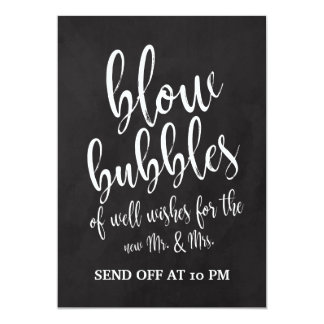 Bubbles Send Off Affordable Chalkboard Sign Card