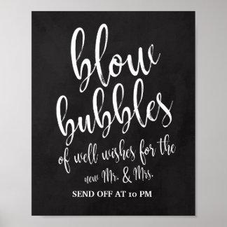 Bubbles Send Off Chalkboard 8x10 Wedding Sign