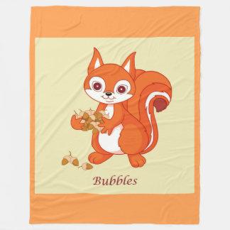 Bubbles the Helpful Squirrel Fleece Blanket