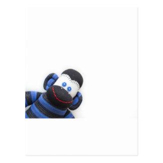 Bubbles the sock monkey postcard
