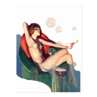 Bubbles with a Classic Pin-up Postcard