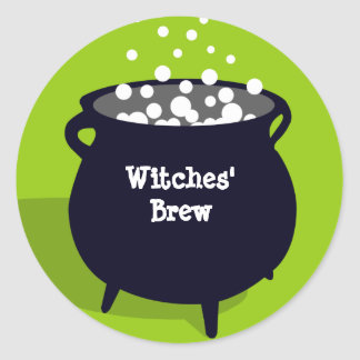 Bubbling cauldron ghoulish green Halloween label