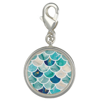 Bubbly Aqua turquoise marble mermaid fish scales