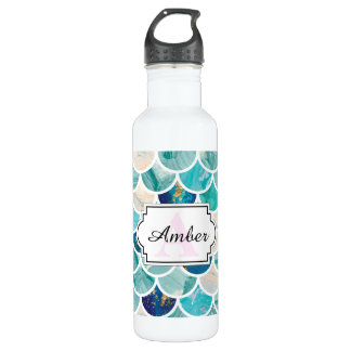 Bubbly Aqua turquoise marble mermaid fish scales 710 Ml Water Bottle