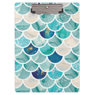 Bubbly Aqua turquoise marble mermaid fish scales Clipboard