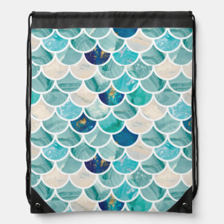 Bubbly Aqua turquoise marble mermaid fish scales Drawstring Bag