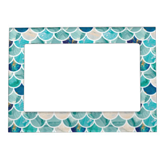 Bubbly Aqua turquoise marble mermaid fish scales Magnetic Frame