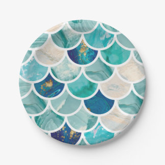 Bubbly Aqua turquoise marble mermaid fish scales Paper Plate
