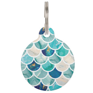 Bubbly Aqua turquoise marble mermaid fish scales Pet Tag