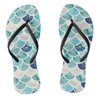 Bubbly Aqua turquoise marble mermaid fish scales Thongs