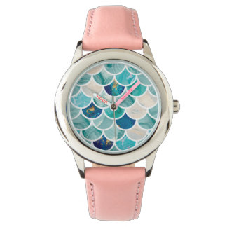 Bubbly Aqua turquoise marble mermaid fish scales Watch