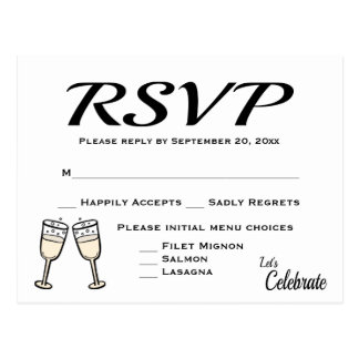 Bubbly Black, White RSVP Wedding Champagne Flutes Postcard