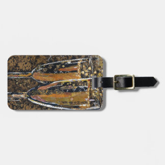 Bubbly - champagne collage art luggage tag