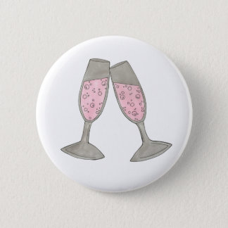 Bubbly Champagne Glass Cheers Bride Wedding Button