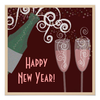 Bubbly Champagne New Years Eve Party Invitation