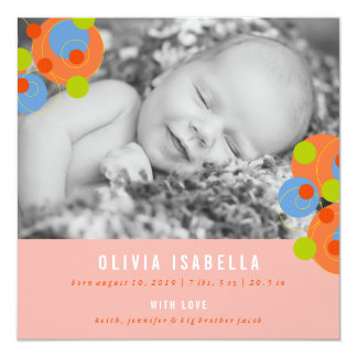 Bubbly Circles Baby Girl Photo Birth Announcement