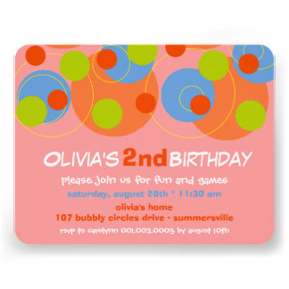 Bubbly Color Dots Kids Girl Photo Birthday Invite
