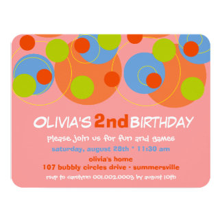Bubbly Color Dots Kids Girl Photo Birthday Invite