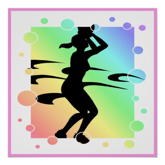 Bubbly Lady Basketball Player Silhouette Poster