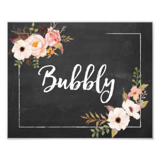 Bubbly Rustic Chalkboard Floral Wedding Sign