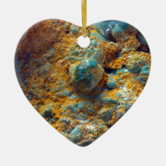 Bubbly Turquoise with Rusty Dust Ceramic Heart Decoration