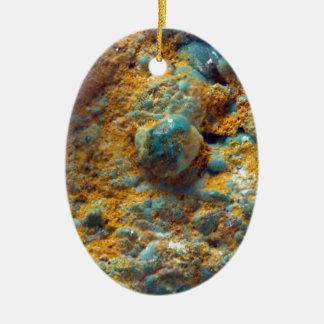 Bubbly Turquoise with Rusty Dust Ceramic Ornament