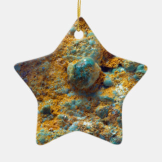 Bubbly Turquoise with Rusty Dust Ceramic Star Decoration