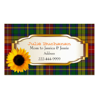 Buchanan Plaid with Sunflower Custom Mommy Card Pack Of Standard Business Cards
